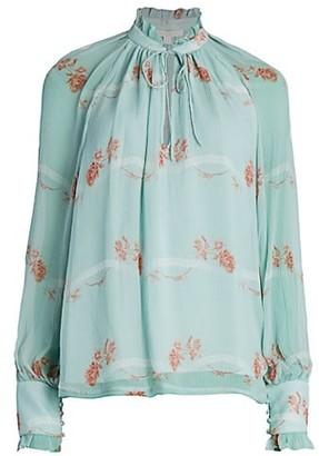 Jonathan Simkhai Monica Rose Print Silk Blouse