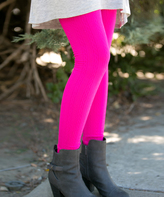 Fuchsia Cable-Knit Fleece Leggings - Plus