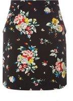 Dorothy Perkins Womens Black Floral Print Ruffle Mini Skirt- Black