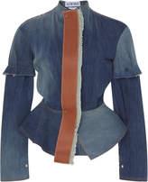 Loewe Leather-Trimmed Denim Peplum Jacket