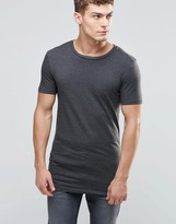 Asos Longline Muscle T-Shirt In Charcoal Marl