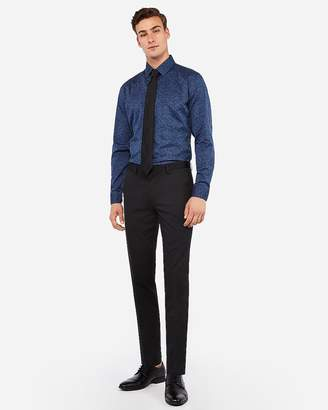 Express Slim Black Wool-Blend Performance Stretch Tough Suit Pant