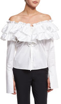 Opening Ceremony Sateen Layered Ruffle Top, White