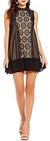 As U Wish Lace Panel Flounce Hem Swing Dress
