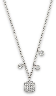 Meira T 14K White Gold Square Pave Diamond Disc Necklace, 16