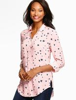 Talbots Long Drapey Shirt-Scattered Hearts