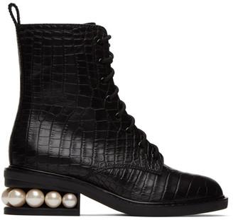 Nicholas Kirkwood Black Croc Casati Pearl Combat Boots