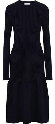 Jil Sander Felt-paneled Ribbed Cashmere Midi Dress
