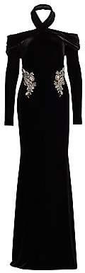Badgley Mischka Women's Velvet Embellished Draped Halter Gown
