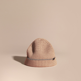 Burberry Ribbed Cashmere Beanie With Border Detail