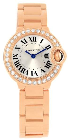 Cartier Ballon Blue WE9002Z3 18K Rose Gold Diamond Quartz 29mm Womens Watch