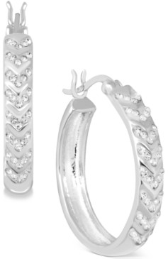 Essentials Small Crystal Chevron Hoop Earrings in Fine Silver-Plate, 1""