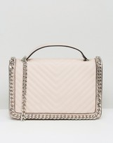 Aldo Chevron Chain Detail Shoulder Bag In Blush