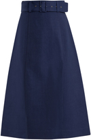 Sea High-rise cotton midi skirt