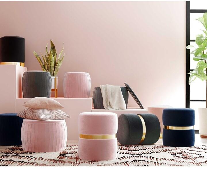 Thumbnail for your product : TOV Furniture Pri Blush Velvet Ottoman