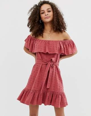 Asos Design DESIGN off shoulder broderie sundress with belt-Pink
