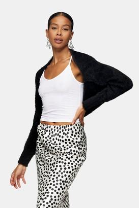 Topshop Black 90s Fluffy Knitted Shrug Cardigan