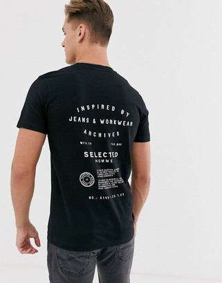 Selected back graphic print t-shirt in black