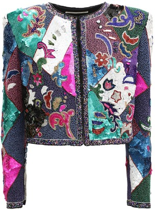 Alessandra Rich Embroidered Sequin & Bead Silk Jacket