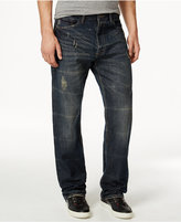 Sean John Men's Patch-Pocket Hamilton Relaxed Fit Destructed Jeans, Deep Tinted Wash