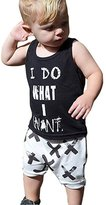 E-SHA Baby Boys Girls I Do What I Want Sleeveless Vest Shirt and Cross Shorts Pants Outfit (2-3years, )