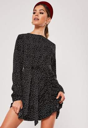 Missguided Black Ruched Button Side Polka Dot Tea Dress