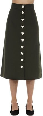 George Keburia Heart Button Crepe Midi Skirt
