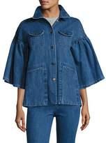 Co Flared-Sleeve Denim Jacket, Indigo