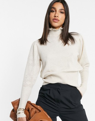 Vila knitted jumper with frilled funnel neck detail in beige