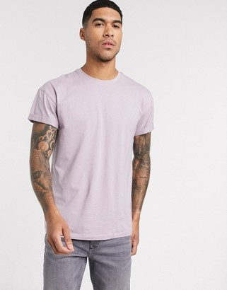 New Look roll sleeve t-shirt in lilac