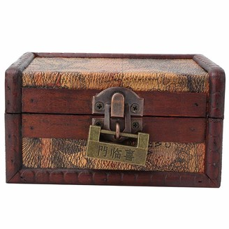 Hztyyier Vintage Jewelry Box with Lock Wood Storage Case Necklace Storage Box Container Holder Home Decor