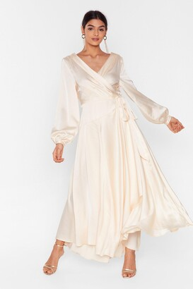 Nasty Gal Womens Long Cowl Back Wrap Dress with Long Sleeves - Cream