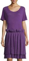 See by Chloe Pleated-Skirt Short-Sleeve Dress, Purple