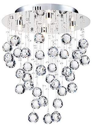 Modern Elegant Ceiling Lamp Nickel Metal Frame Silver Round Crystal Pendants excl. 4 Bulbs G9 x 40w