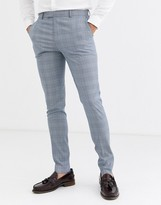 Asos Design ASOS DESIGN super skinny suit trousers in dusky blue puppytooth check