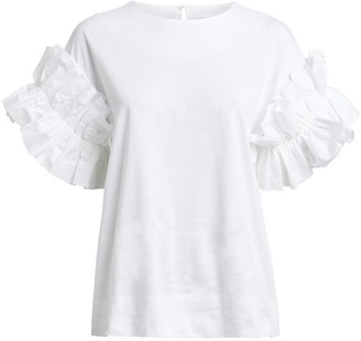 Victoria Victoria Beckham Victoria, Victoria Beckham Ruffle Sleeve Cotton T-Shirt
