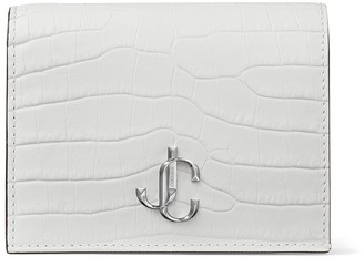 Jimmy Choo HANNE Latte Croc-Embossed Leather Wallet with JC Emblem