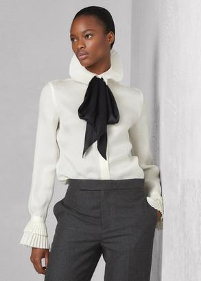 Ralph Lauren Quinton Pleated Silk Tie-Neck Shirt