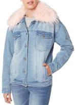 Buffalo David Bitton Faux Fur-Trimmed Denim Jacket