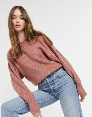 ASOS DESIGN jumper with batwing and pleat sleeve detail in dusky pink