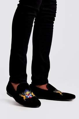 boohoo Embroidered Velvet Loafer