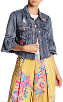 Flying Tomato Floral Patch Denim Jacket