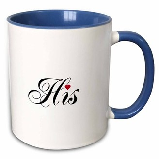 3drose 3dRose His - part of his and hers set - fancy cursive script text - romantic couple wedding anniversary - Two Tone Blue Mug, 11-ounce