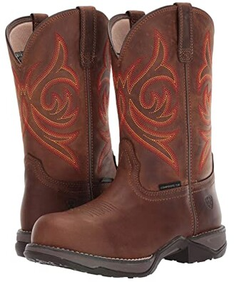 Ariat Anthem Round Toe Composite Toe (Distressed Brown) Women's Work Boots