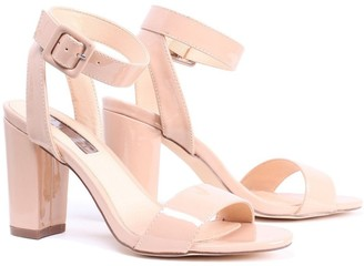 Linzi Millie Mocha Patent Open Toe Block Heels With Ankle Strap And Buckle Detail
