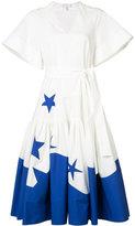 DELPOZO wide sleeve printed midi dress - women - Cotton - 36