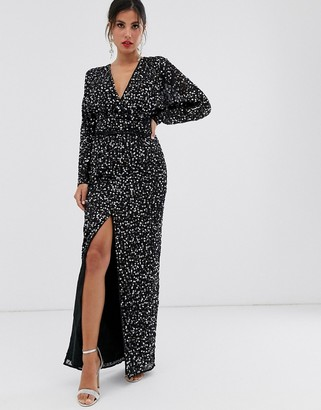 Asos Design DESIGN maxi dress with batwing sleeve and wrap waist in scatter sequin-Black