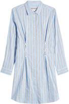Paul & Joe Striped Cotton Shirt Dress with Lace-Up Detail