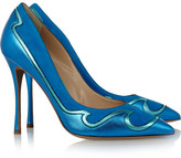 Nicholas Kirkwood Metallic leather and suede pumps