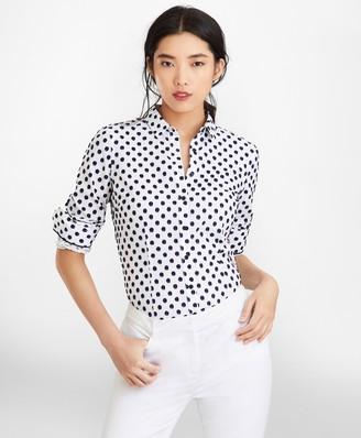 Brooks Brothers Petite Tailored-Fit Clip-Dot Jacquard Shirt